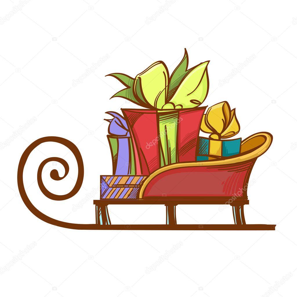 выше описанного рисунки санки с подарками клеёного