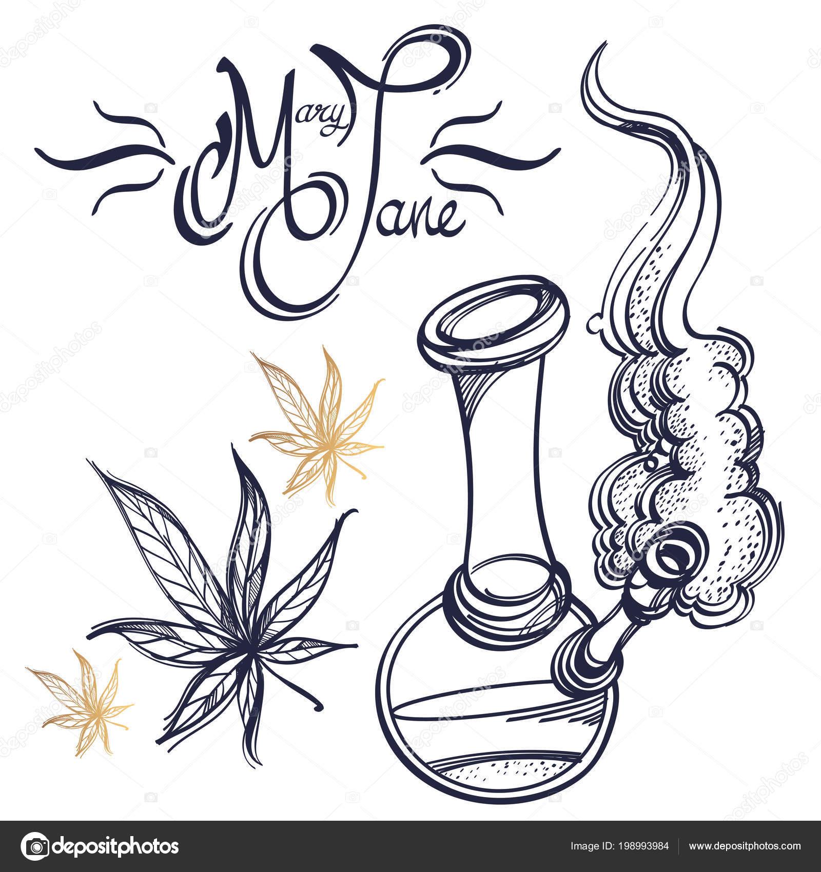 Smoking Bong Marijuana Mary Jane Lettering Stock Vector Filkusto