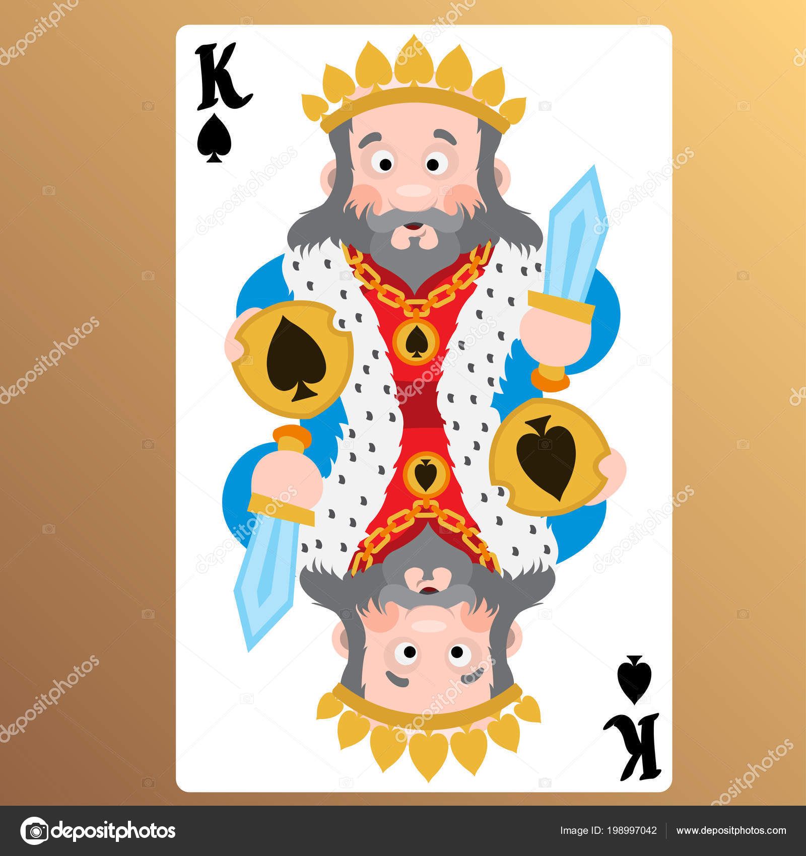 King Spades Playing Cards Cartoon Cute Characters Stock Vector