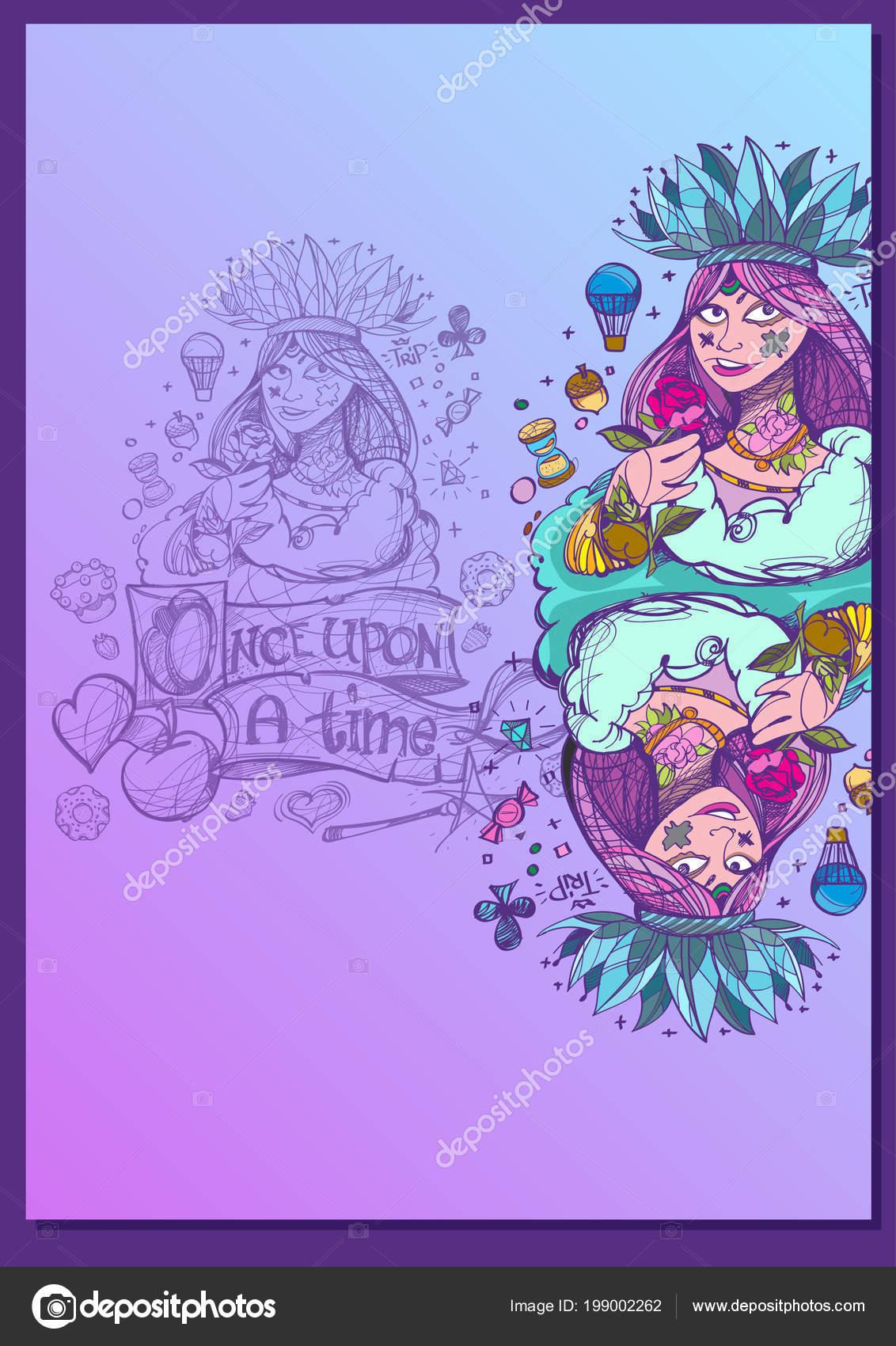 Królowa Szablon Postaciami Bajek Tworzenia Broszury Plakaty