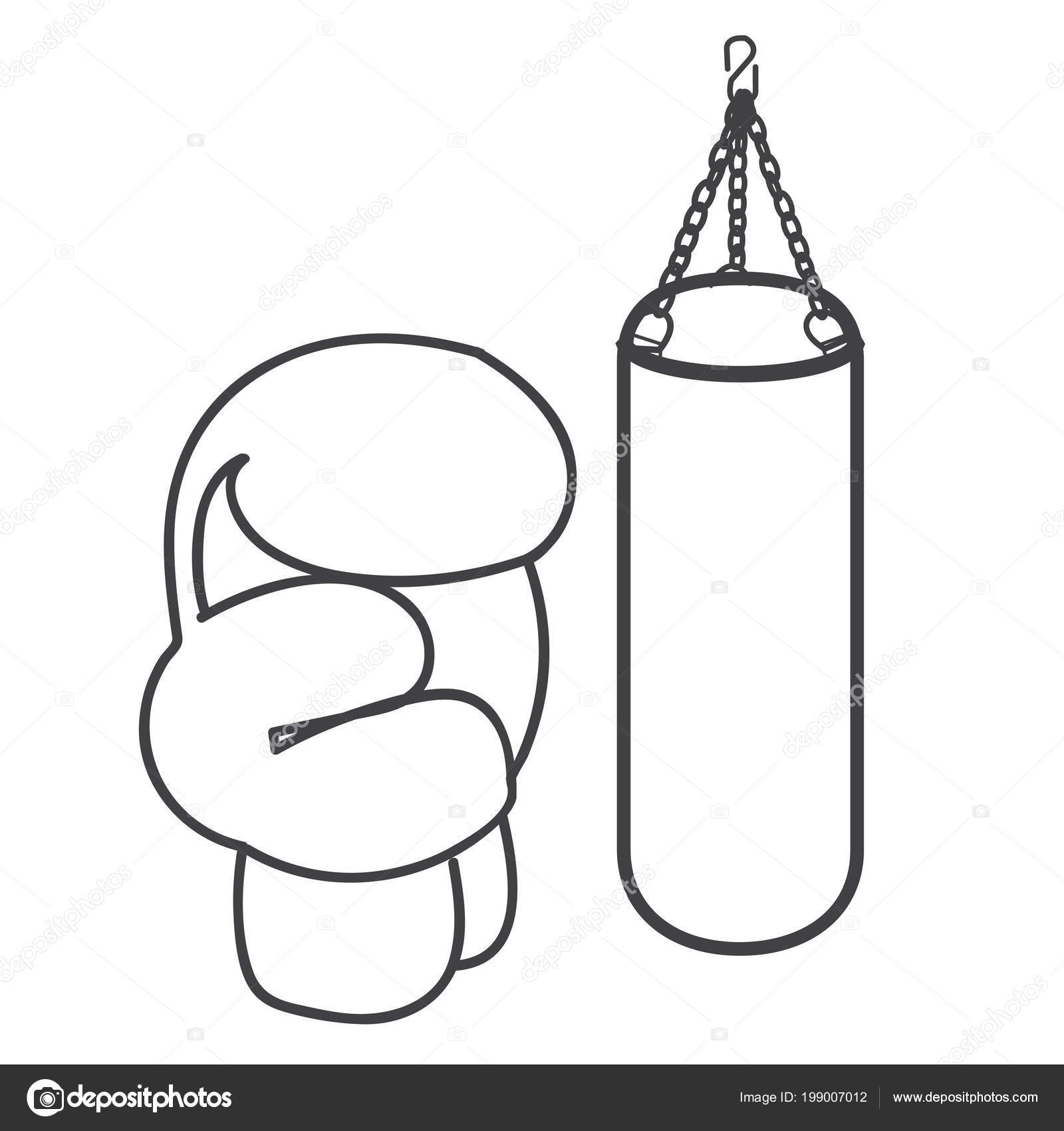 Punch Bag Glove Equipment Boxing Vector Illustration Monochrome
