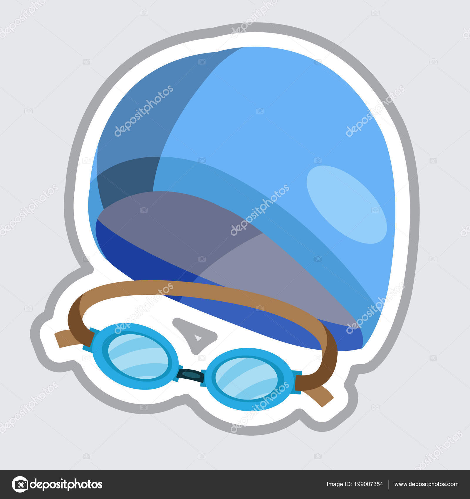 ca0ad53c2642 Set Goggles Swimming Cap Flat Icon Isolated Grey Background — Stock Vector