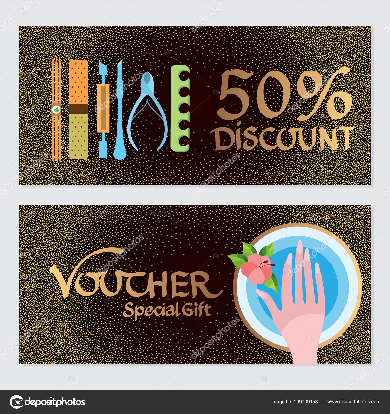 Discount Voucher Template Certificate Coupon Manicure Pedicure
