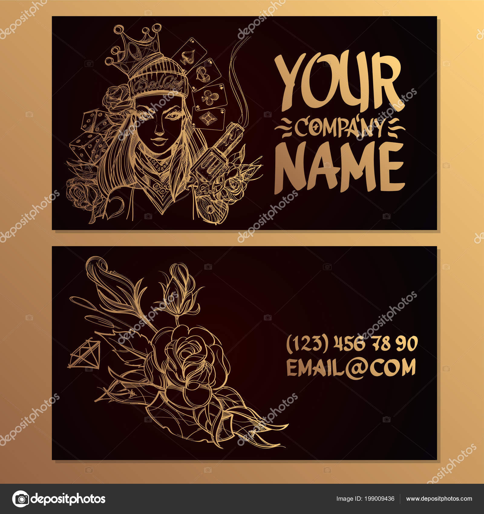 Cards Image Woman Gun Flower Templates Creating Business Cards