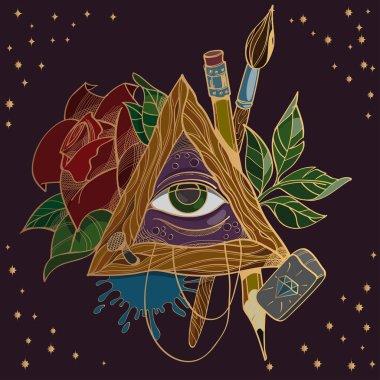 All-seeing eye symbol on black background