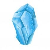 Fotografia cristallo blu ghiaccio isolato su sfondo bianco