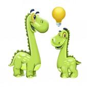 Roztomilý kreslený dinosauři izolovaných na bílém pozadí