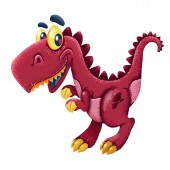 Roztomilý kreslený dinosaurus izolovaných na bílém pozadí