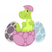Cute cartoon dinosaur hatching from egg isolated on white background