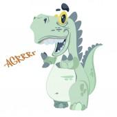 Fotografie Cute cartoon dinosaur isolated on white background