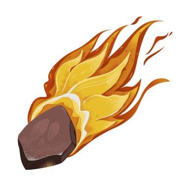 Beyaz arka plan üzerinde taş ateşle kuyruk