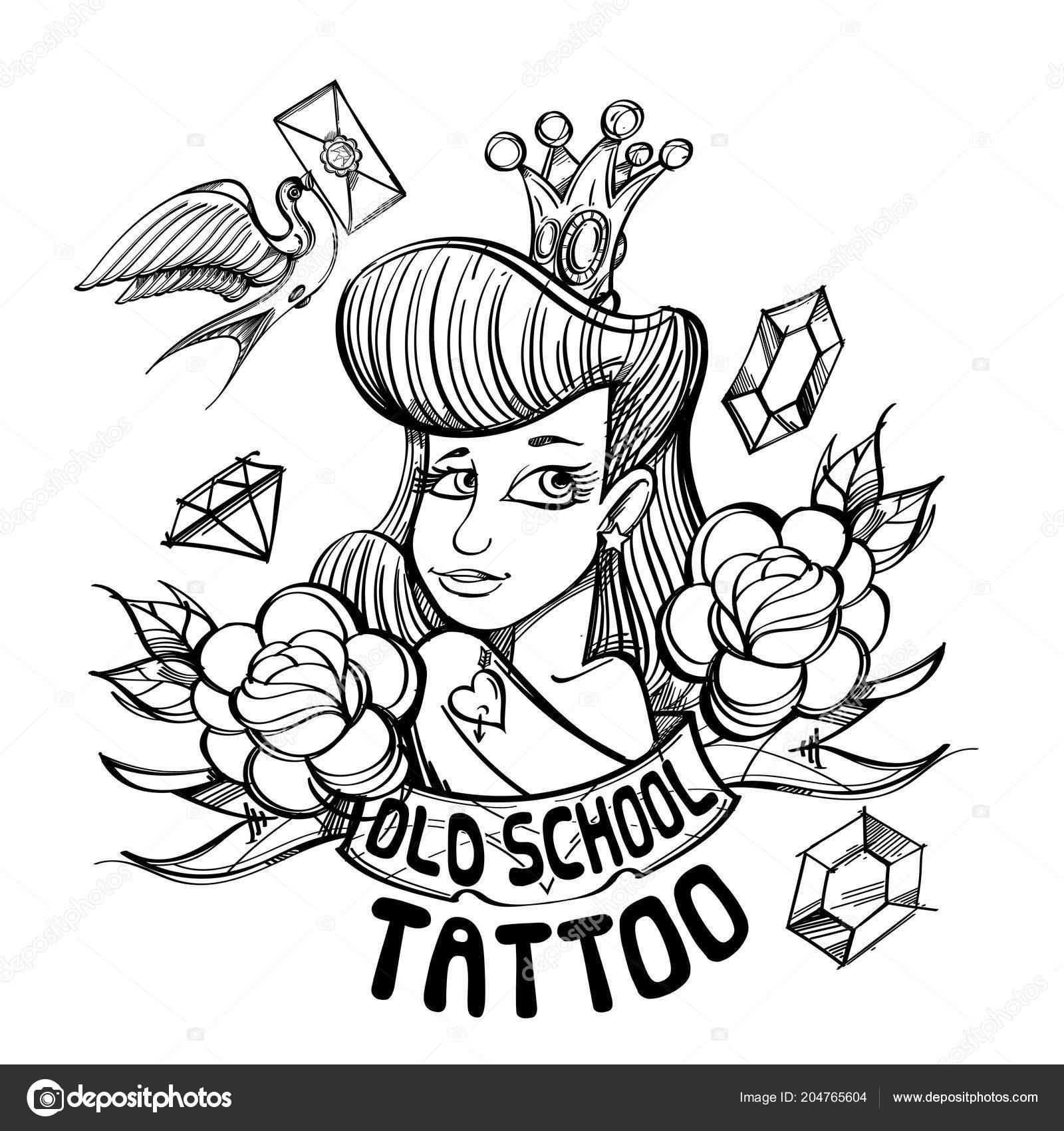 Princesa Corona Vieja Escuela Tattoo Archivo Imágenes Vectoriales