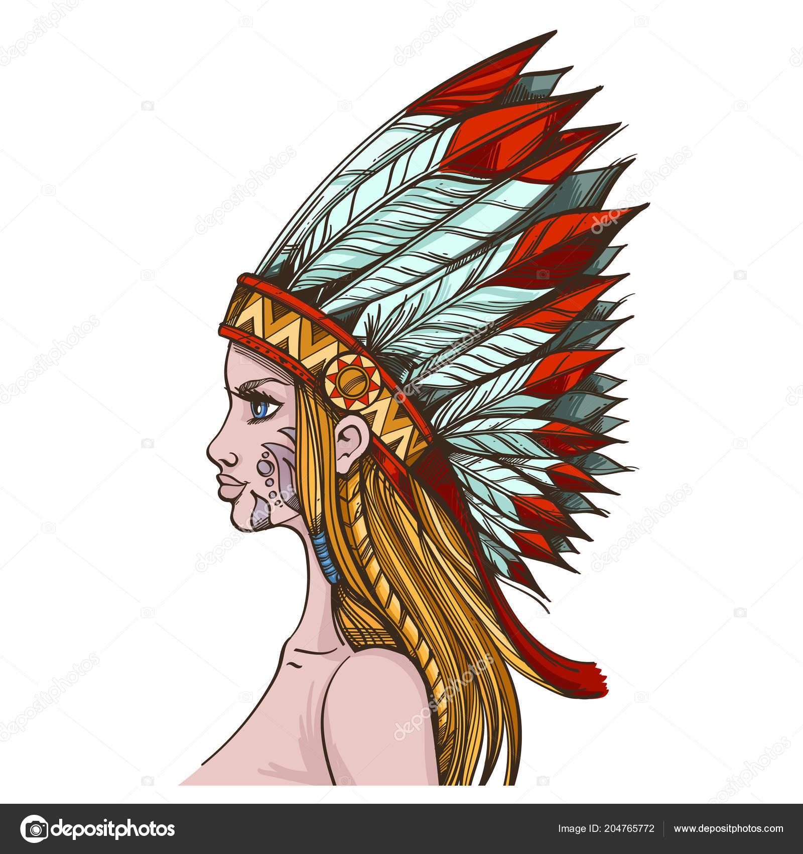 32ba8a901e64 Κορίτσι Στην Κόμμωση Των Ινδιάνων Της Βόρειας Αμερικής Απομονώνονται Λευκό–  εικονογράφηση αρχείου