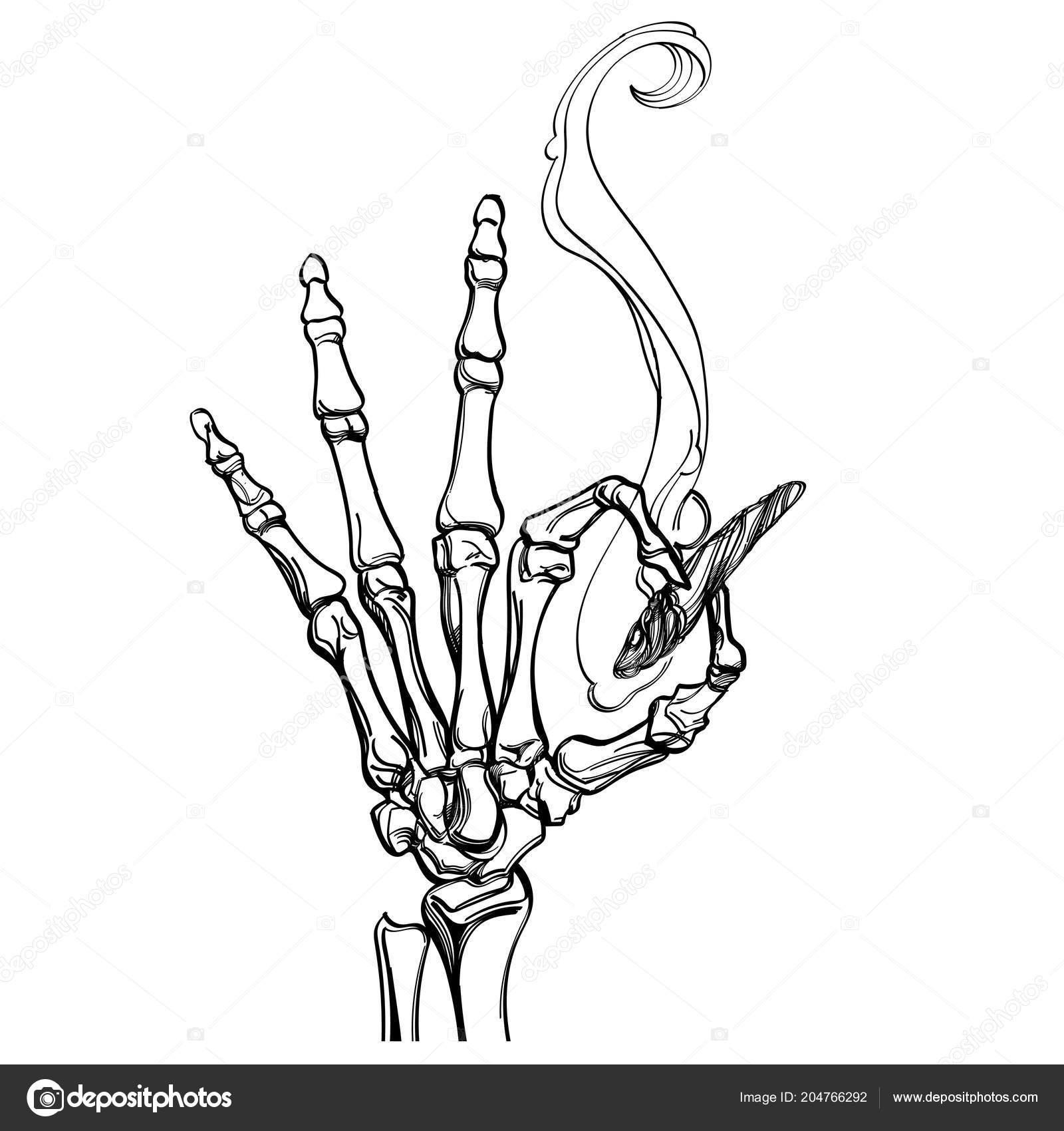Ossa Con Sigaretta Mano Disegno Stile Vettoriali Stock Filkusto