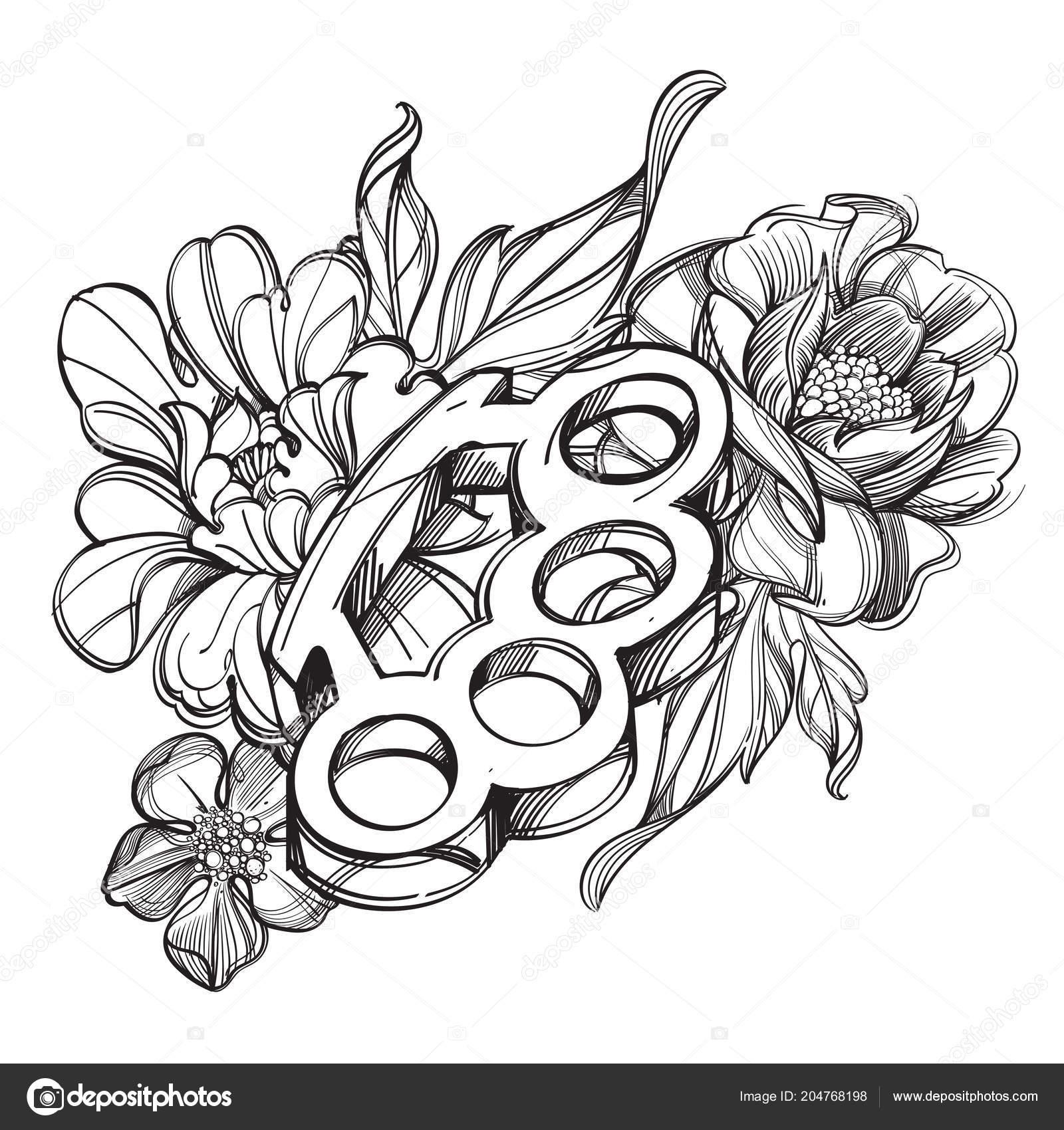 Rosa Dibujo Para Tatuaje Nudillos Latón Cinta Bandera Contorno