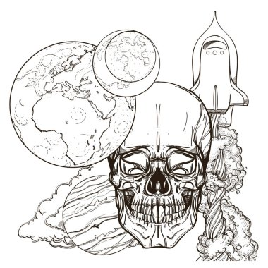 Skull contour sketch for tattoo, for stickers, printing on T-shirts and other items