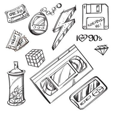 Video cassette, diskette, tamagotchi, Rubiks cube, graffiti spray, ticket, lightning on white background
