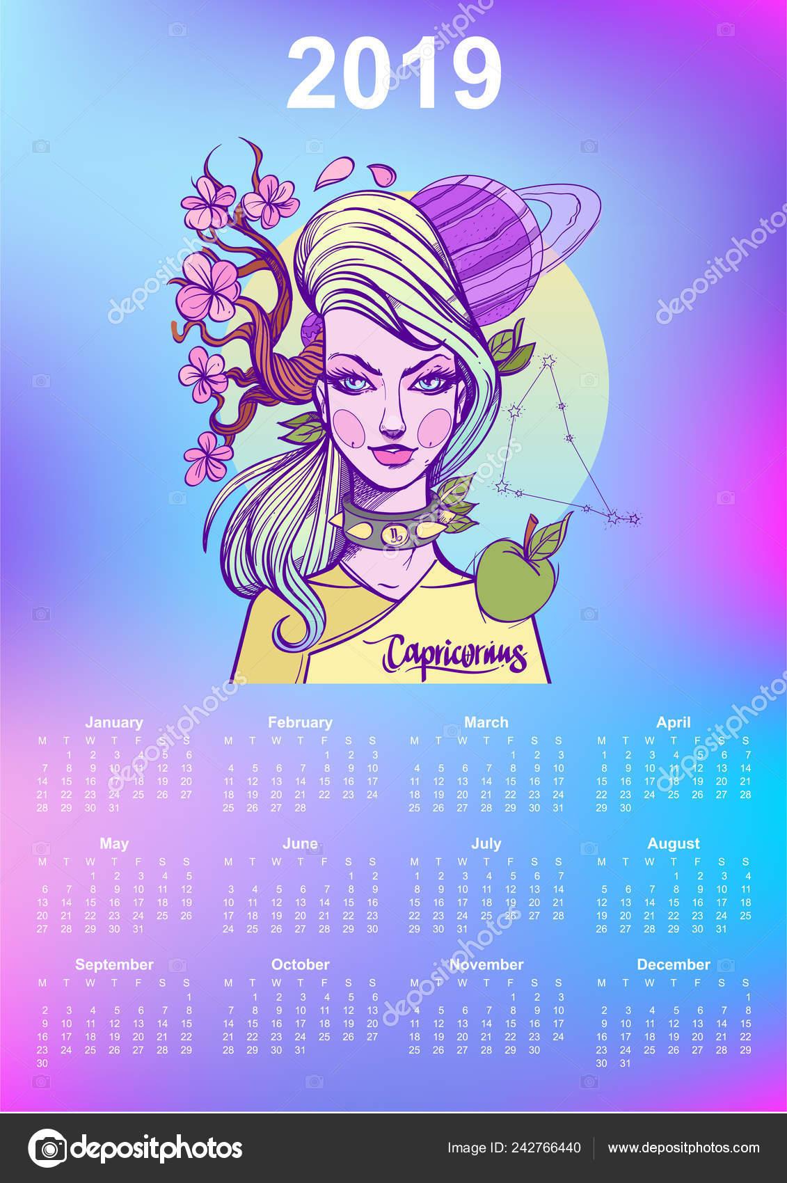 Calendario Zodiacale.2019 Calendario Mensile Capricorno Segno Zodiacale Regalo