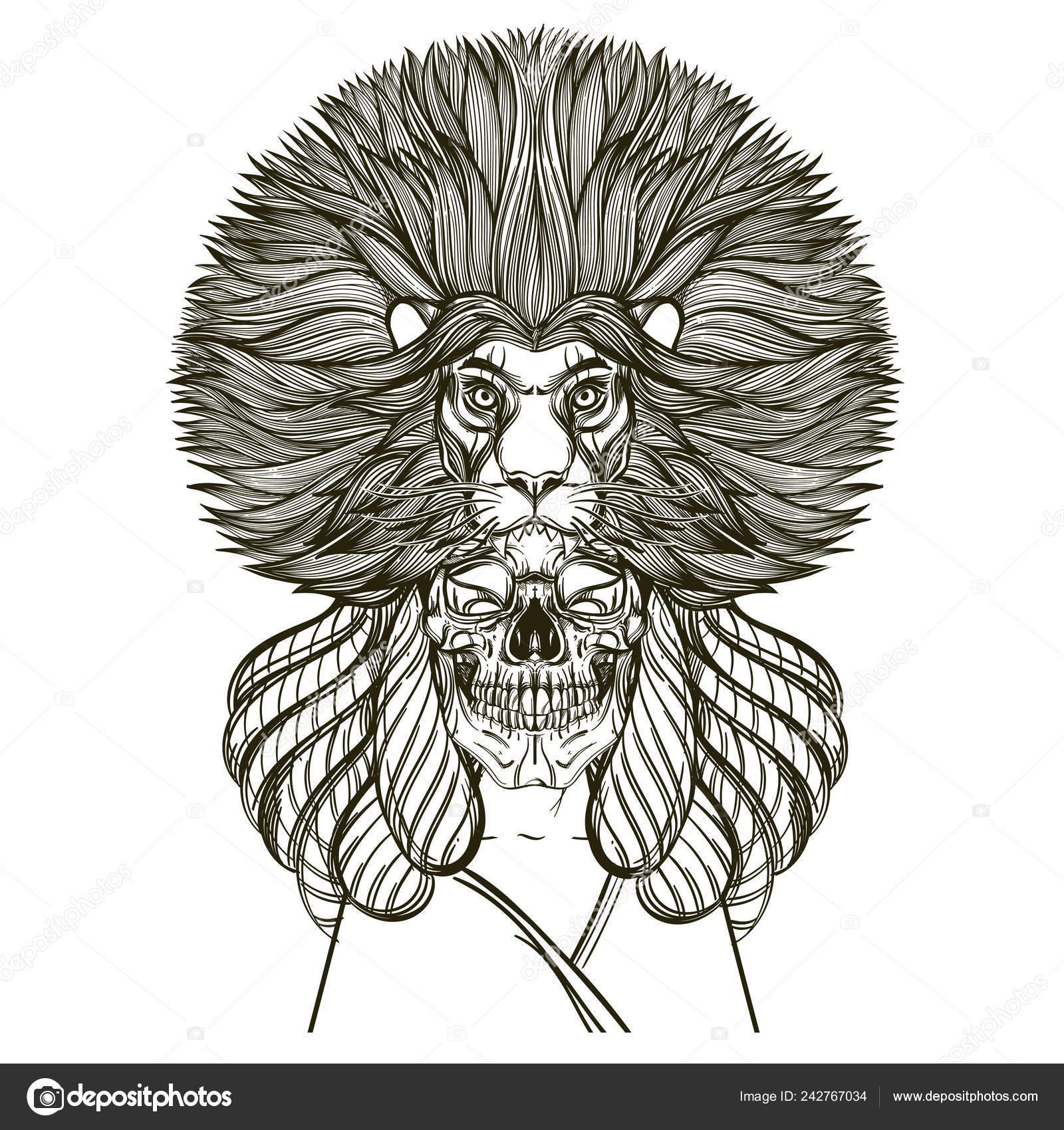 Leone Di Profilo Disegno.Illustrazione Teschio Disegno Profilo Donna Con Teschio
