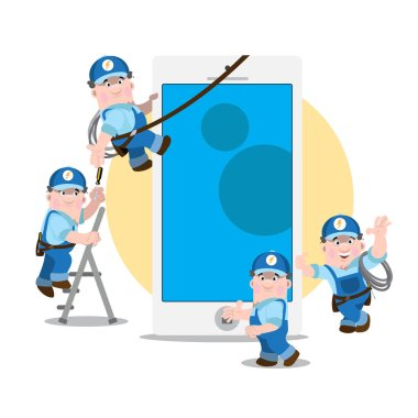 Set of funny cartoon characters. A man working in a blue uniform.