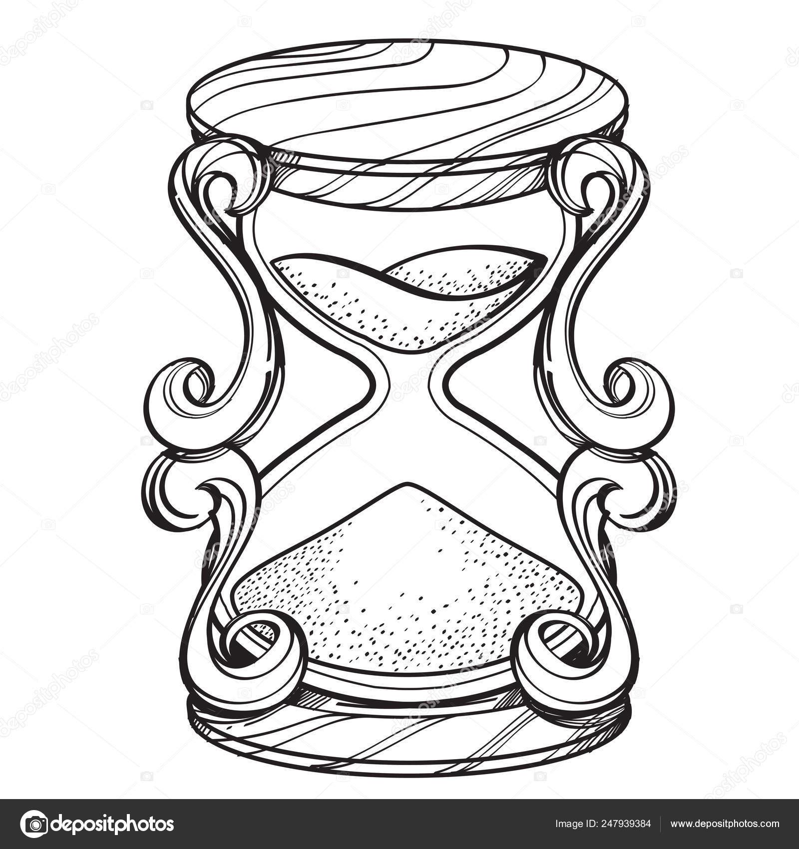 Un Contorno Figura Reloj De Arena Vintage Para Colorear Plantilla