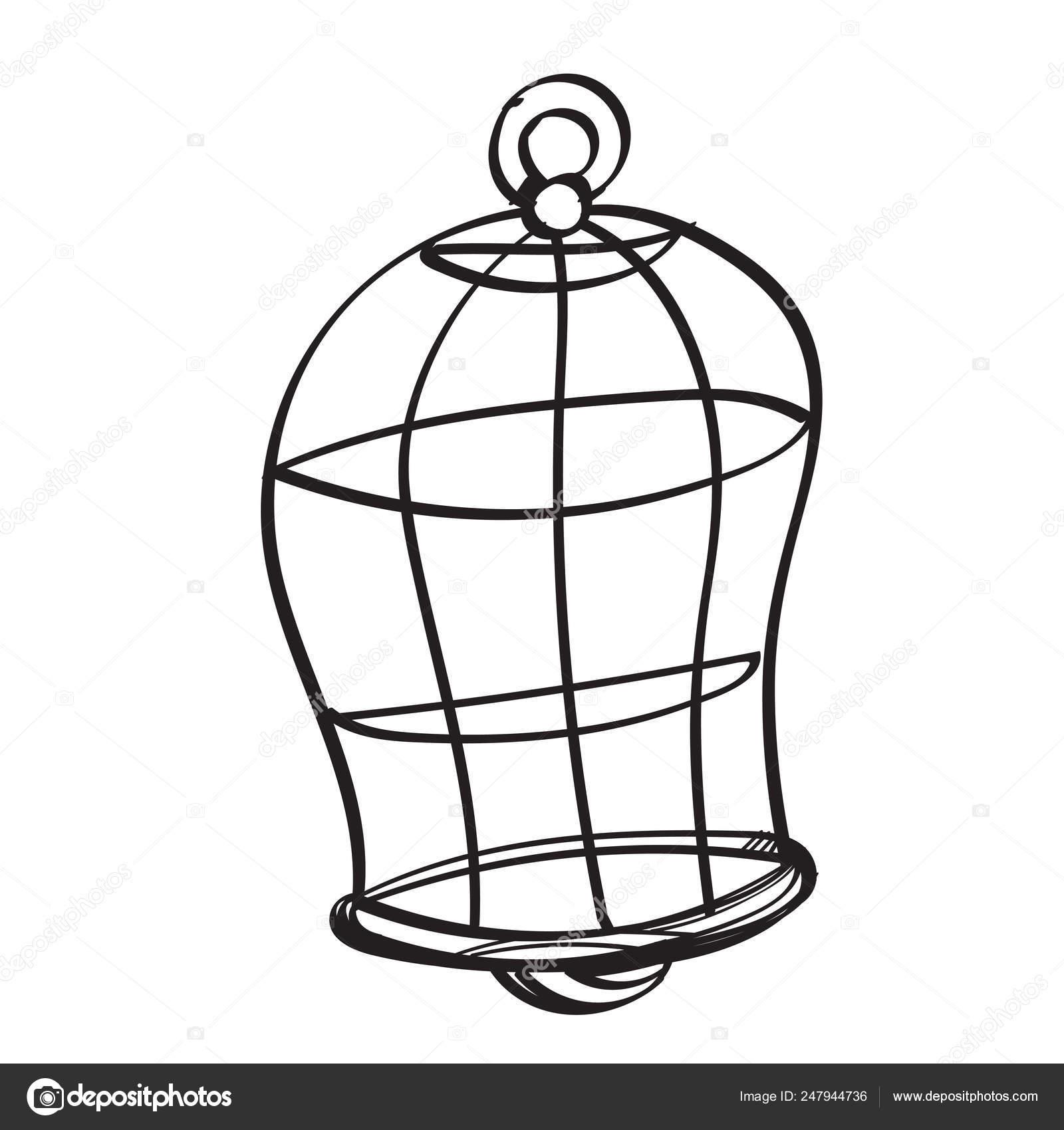 Ilustración Contorno De La Jaula Pájaro Semicircular Para