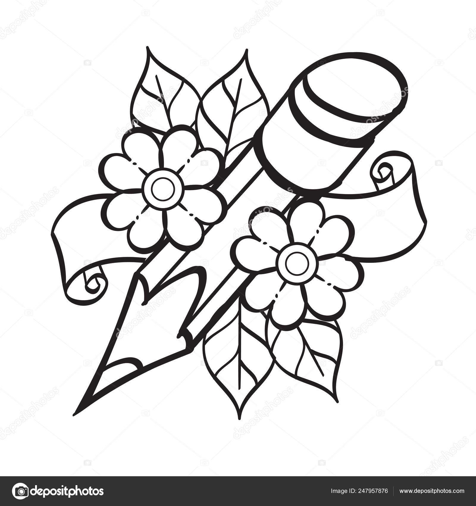 Dibujo De Lápiz Para Colorear Plantilla Para Tatuaje