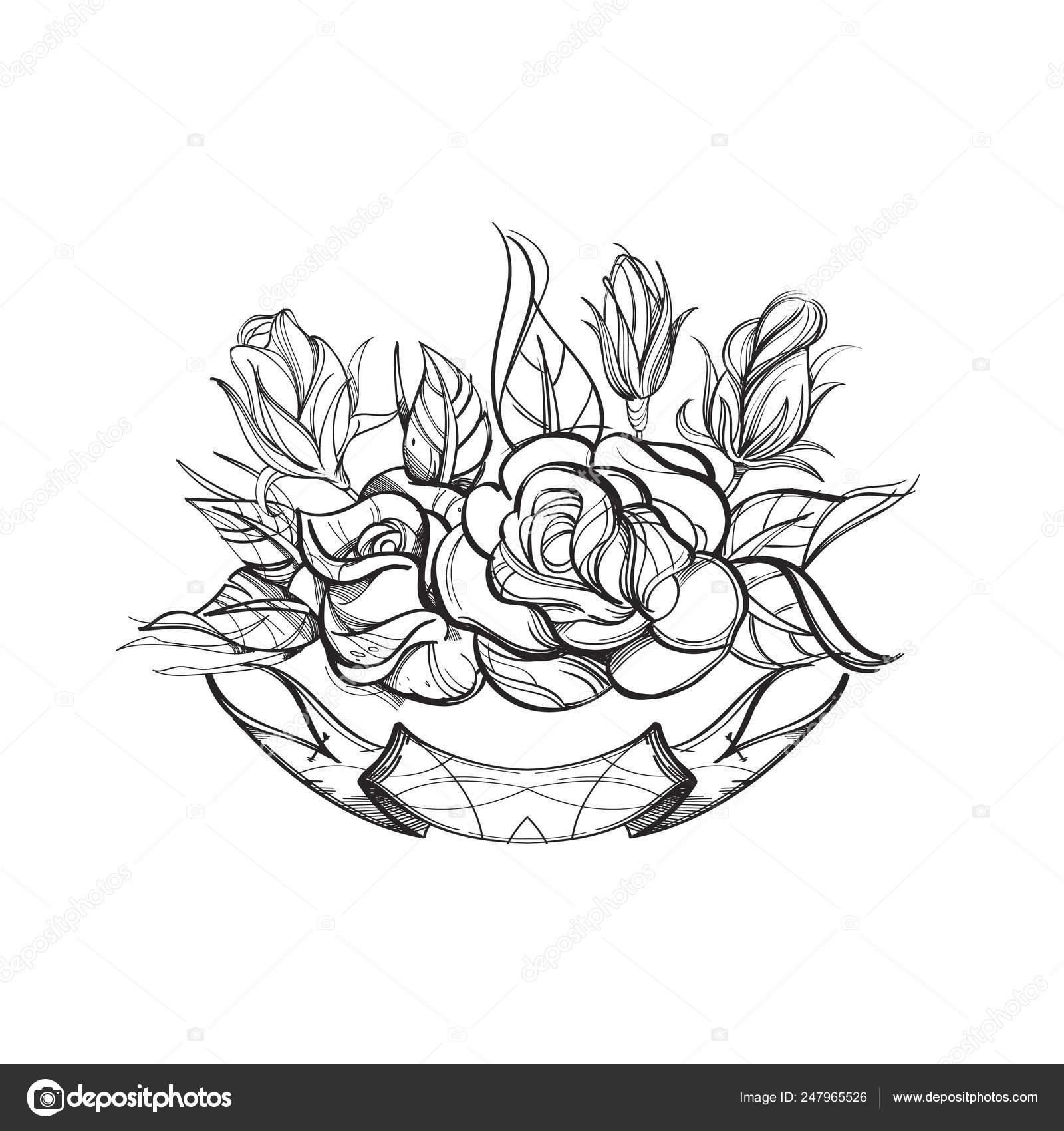 Hermosas Rosas Con Cinta Ilustración Vector Contorno Aislada Sobre