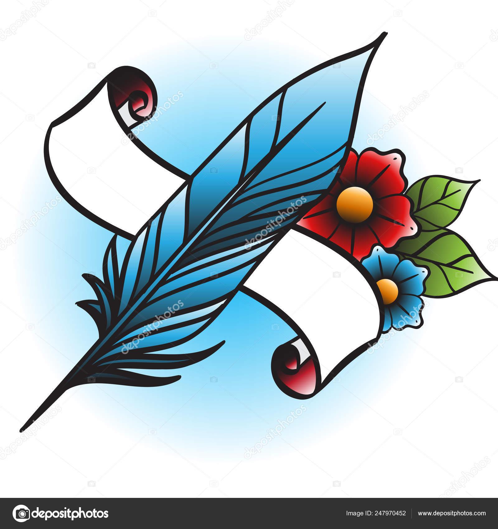 Pena Preta Flores Ilustração Banner Faixa Opções Estilo Das