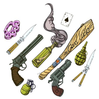 Set of hand drawn weapons. Old school tattoo collection. Vector illustration on white background.