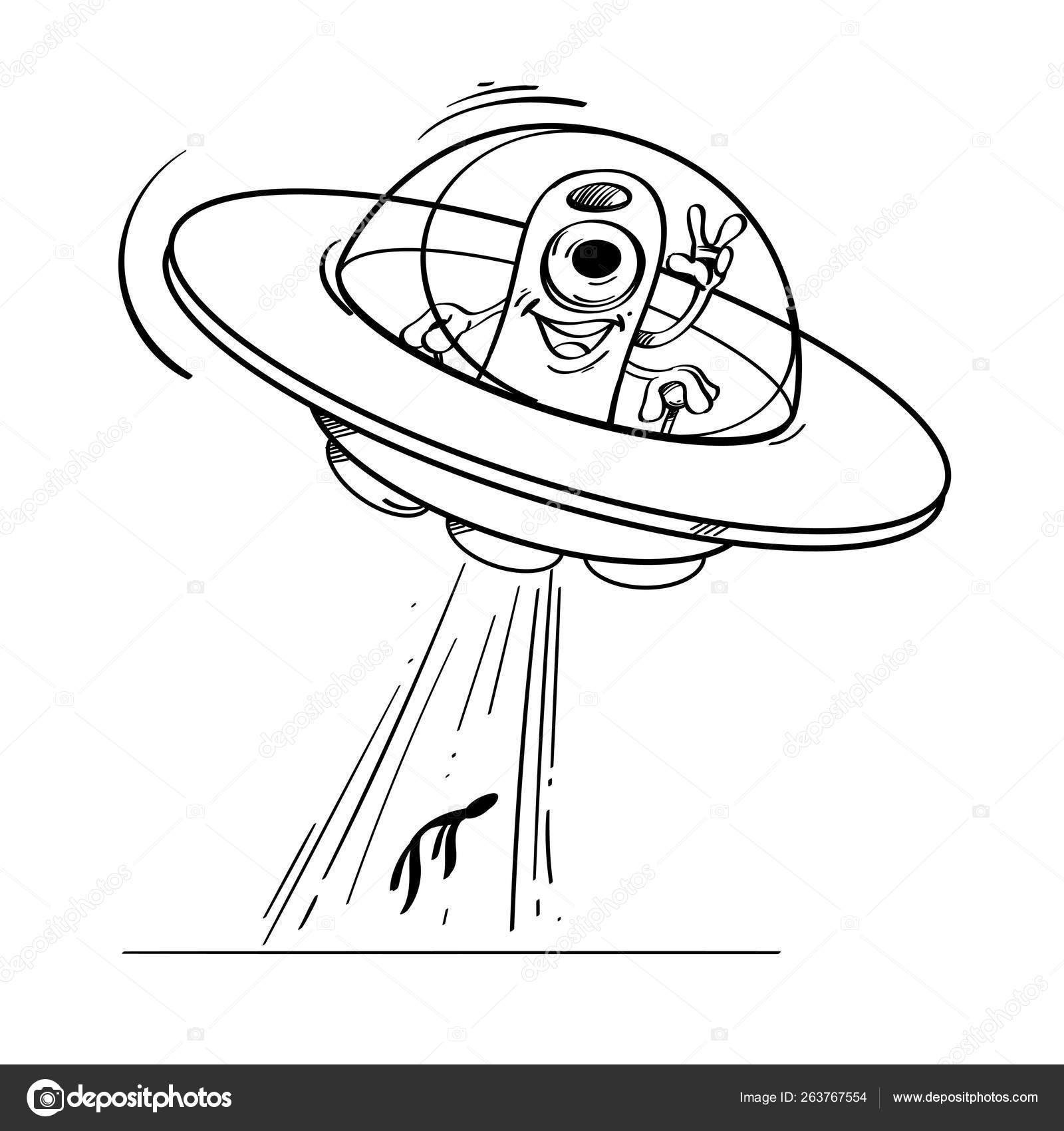 A Flying Saucer With An Alien Inside Kidnaps A Person Vector Black And White Drawing Vector Image By C Filkusto Vector Stock 263767554
