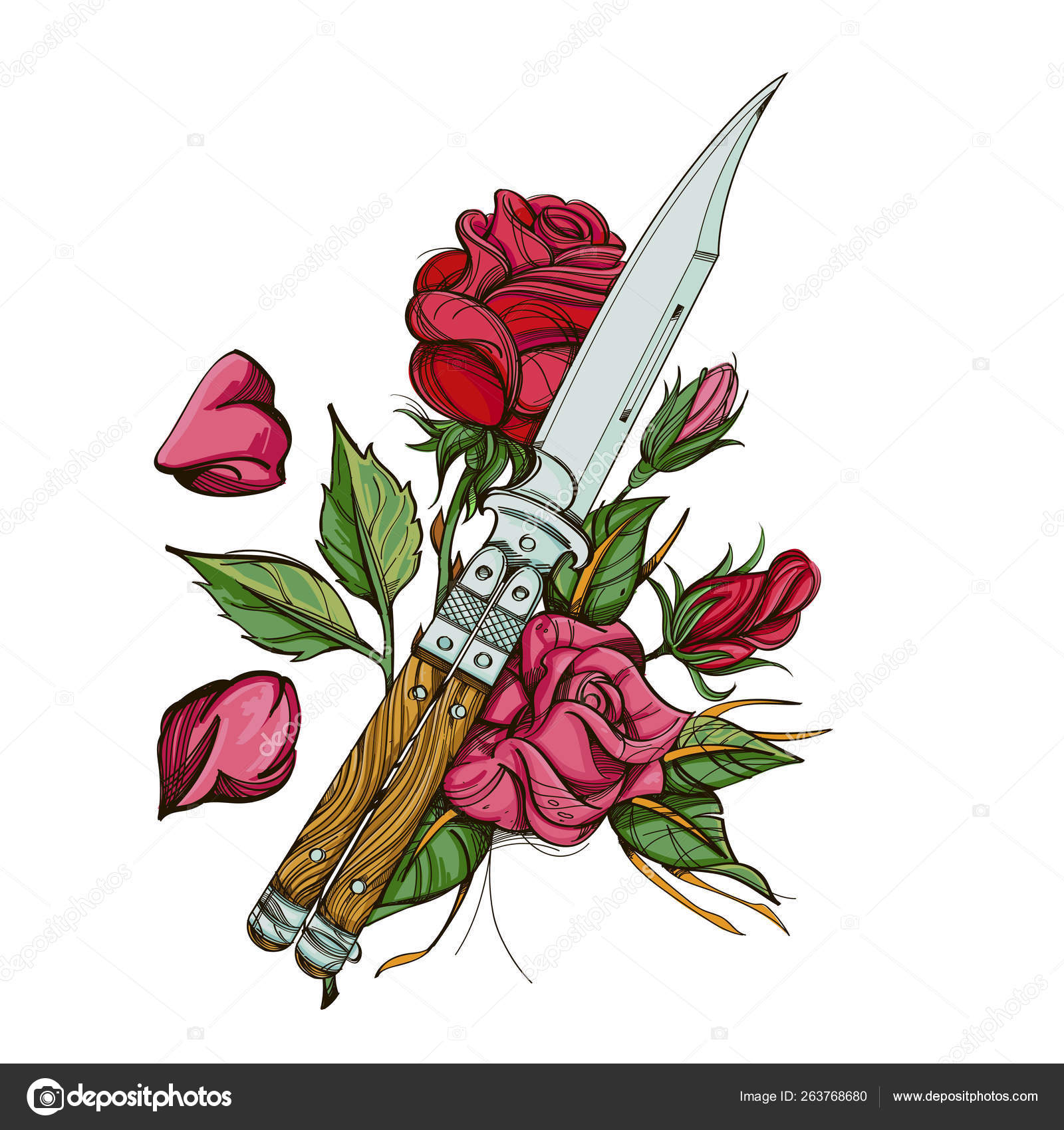 Butterfly Knife Balisong And Roses Vector Illustration