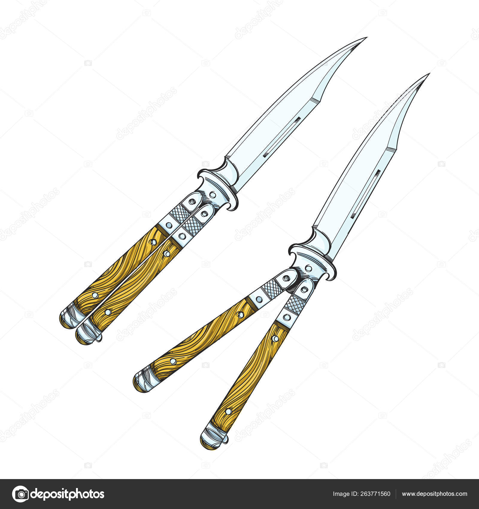 Butterfly Knife Balisong Vector Illustration Isolated On