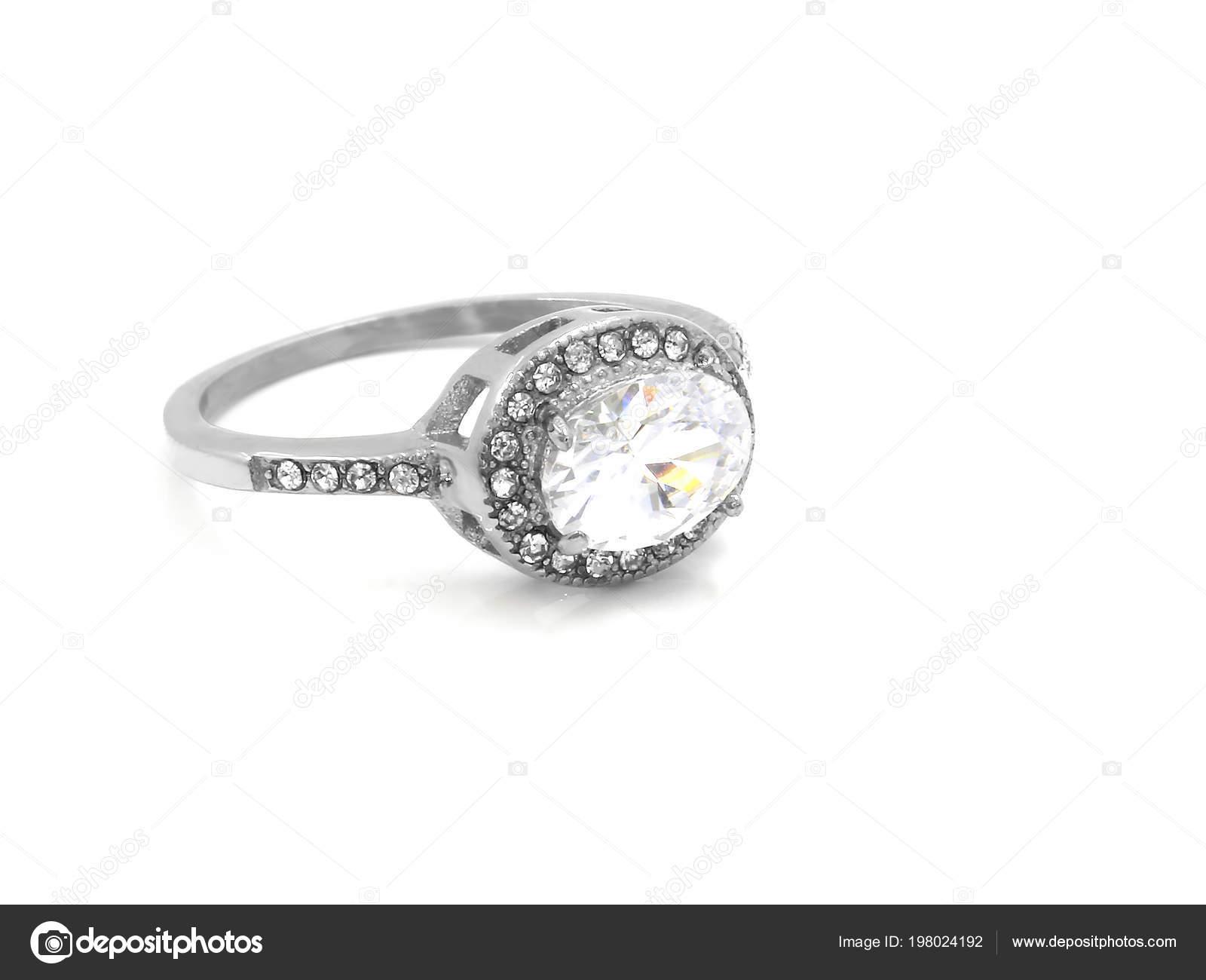 Damen Verlobungsring Edelstahl Mit Zirkonen Einfarbiger Hintergrund