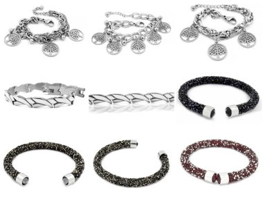 Jewelry photo set - Bracelets - Silver stainless steel - One background color