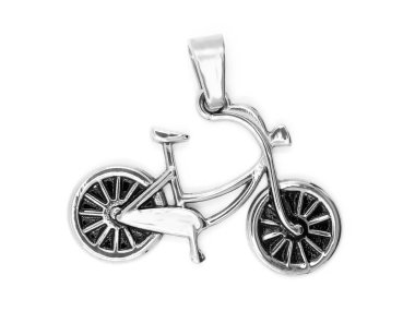 Jewel. Pendant bicycle. Stainless steel. One background color