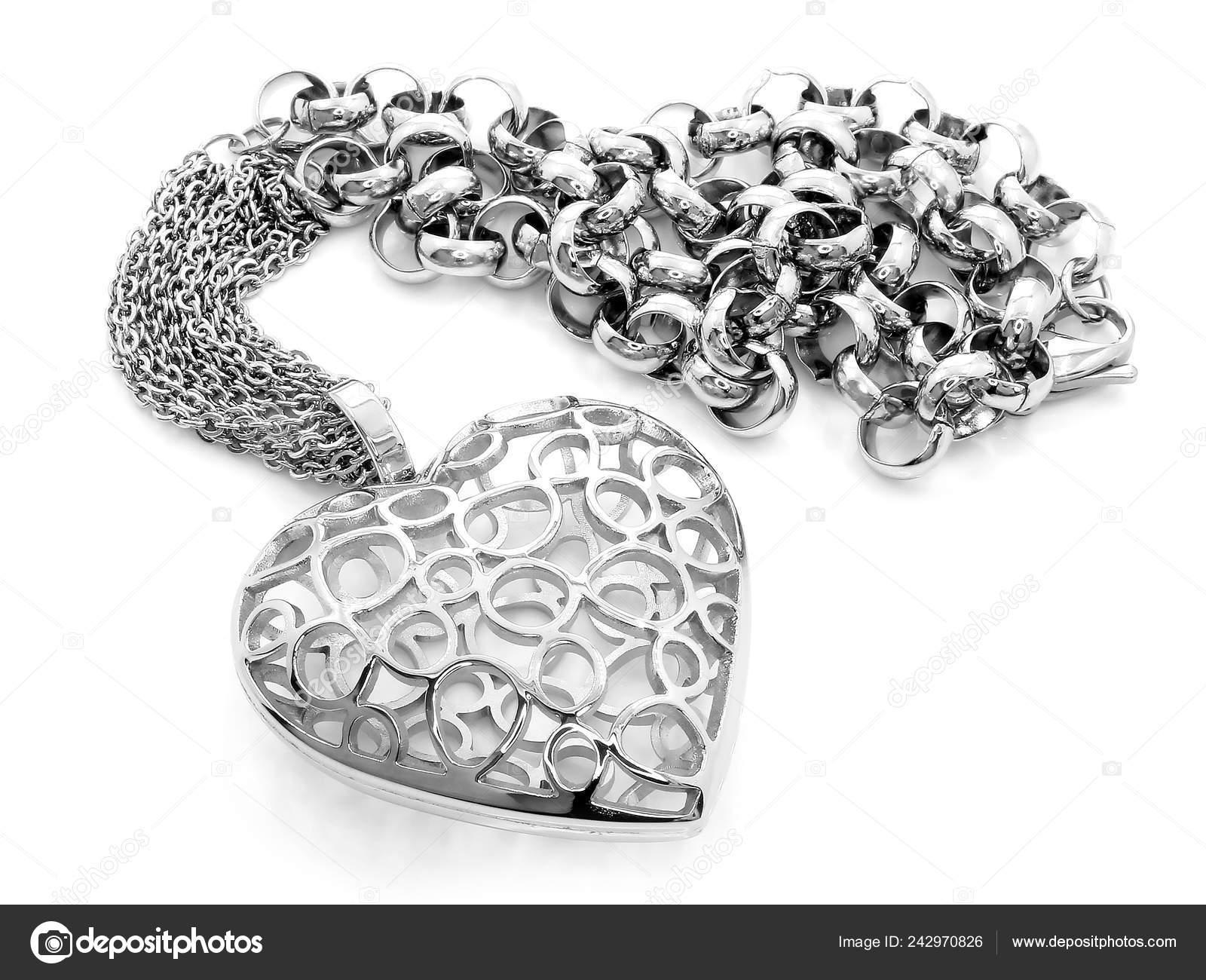 75e625e24652 Joya Plata Collar Corazón Acero Inoxidable Color Fondo Una — Foto de ...