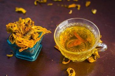 Close up of tea of mace,javantri,Myristica fragrans with raw mace.
