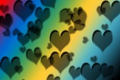 Fotografia Colorful heart shapes drawn on  a colorful gradient.Concept of Valentines day.