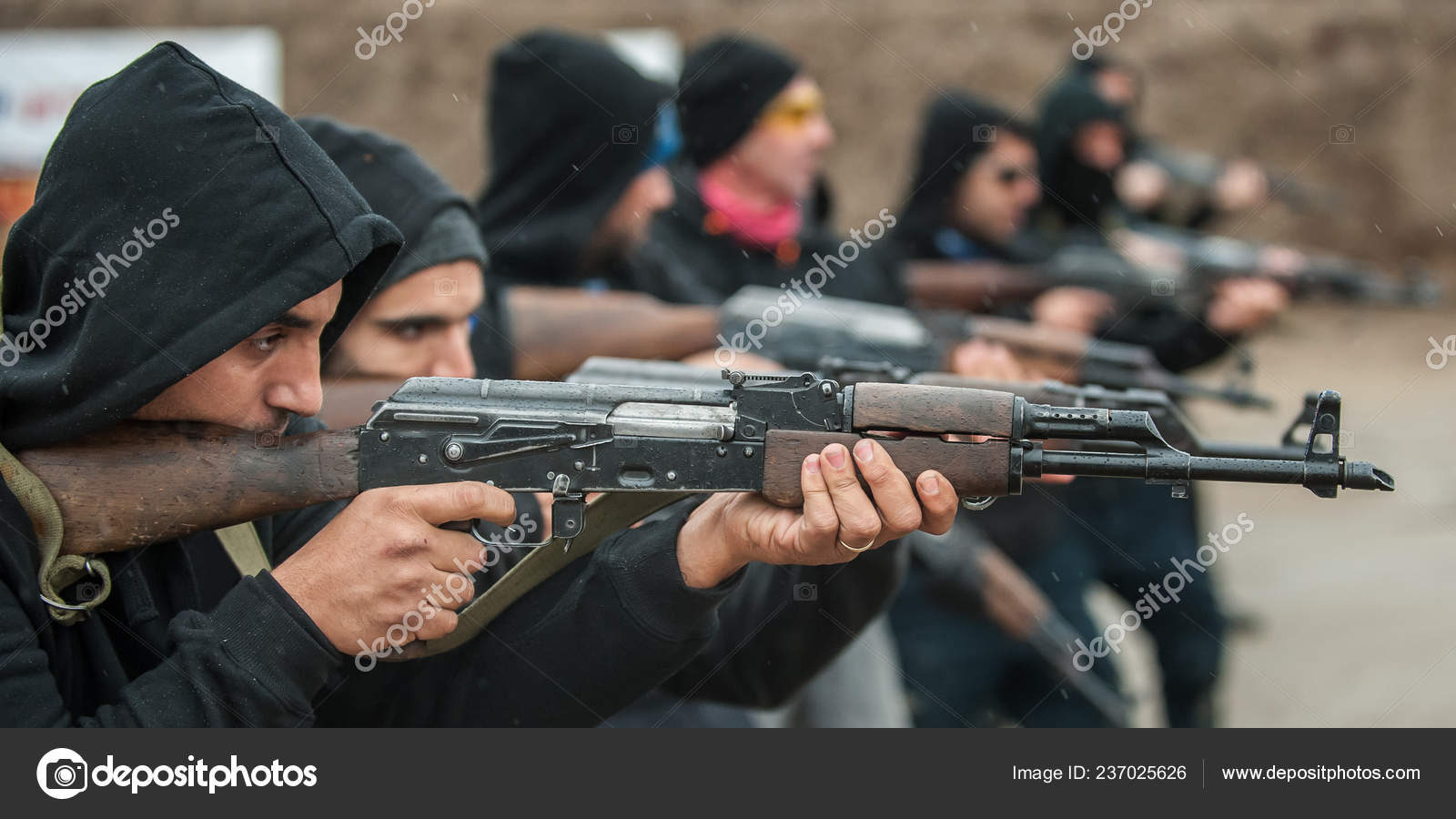 Large Team Group Civilian People Have Action Training Rifle Machine