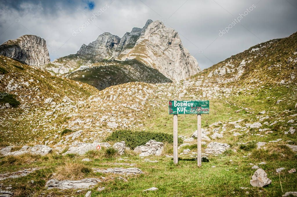 DURMITOR, MONTENEGRO - 25. SEPTEMBER 2018. Direction road sign indicating the Durmitor National Park. Day editorial shot