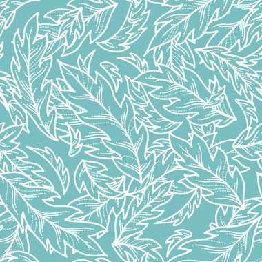Vector seamless pattern of linear leaves.