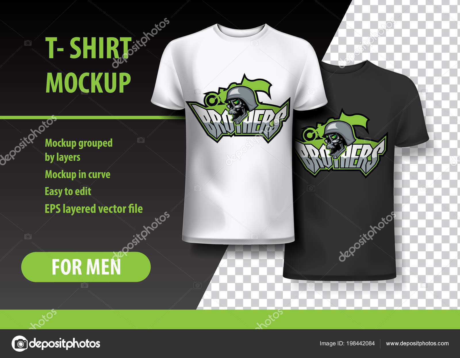 Shirt Mockup Con Fratelli Cranio Frase Due Colori Mockup