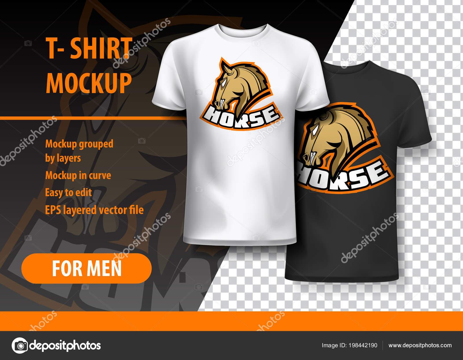 Maquete Shirt Com Frase Cavalo Duas Cores Maquete Camadas