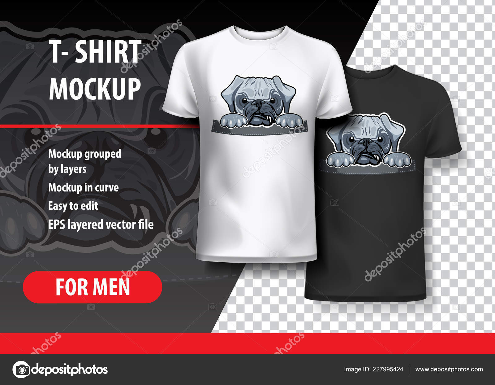 Angry Pug In Pocket T Shirt Template Vector Graphics By Balanslava
