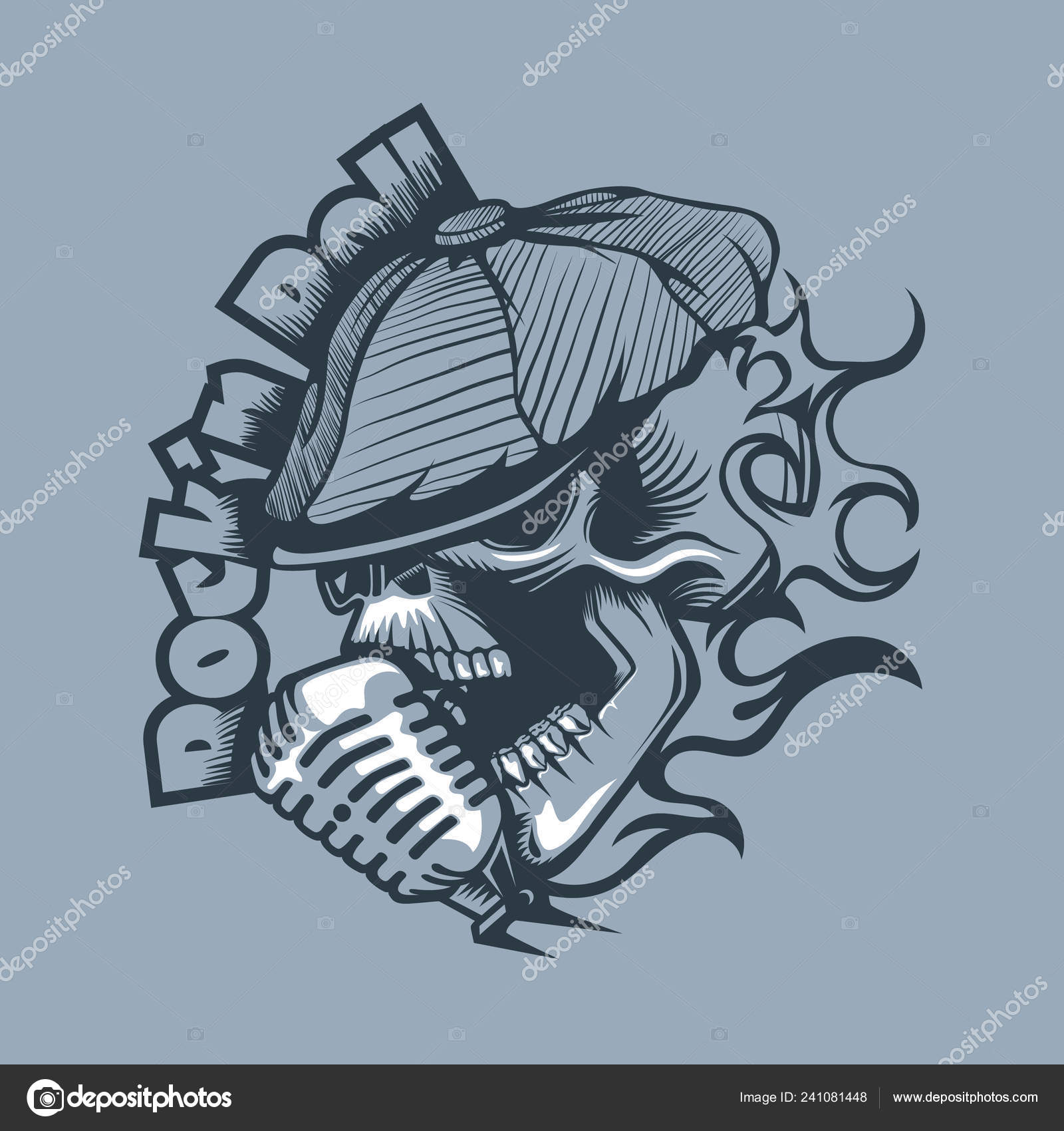 Pictures Old Style Microphone Tattoos Skull Cap Singing Microphone Tattoo Style Stock Vector C Balanslava 241081448