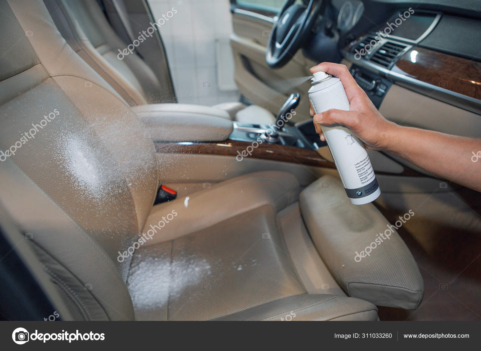 Dirty Car Interior Cleaning The White Leather Seat Of The Machine With A Special Cleaner White Foam From The Cylinder Wiping With A Cloth Stock Photo Image By C Aaalll 311033260