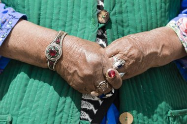 Song Kul, Kyrgyzstan, August 8 2018: Close-up of finger jewelery of a Kyrgyz woman at Song Kul lake in Kyrgyzstan