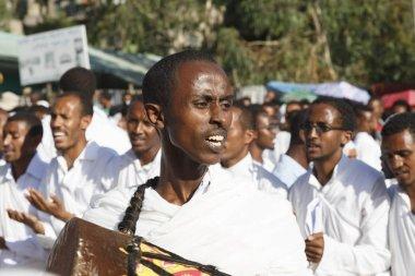 Gonder, Ethiopia, February 18 2015: People dressed in traditional attire celebrate the Timkat festival, the important Ethiopian Orthodox celebration of Epiphany