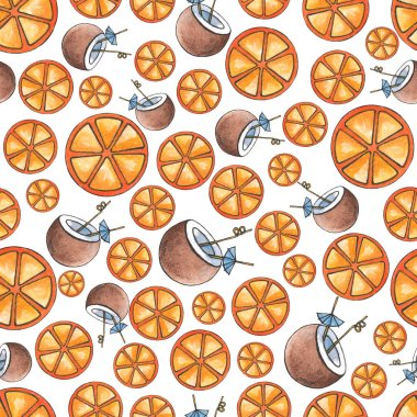 Seamless watercolor background of orange and cocktail slices in coconut.